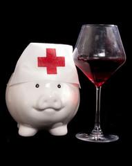piggy bank nurse with red wine
