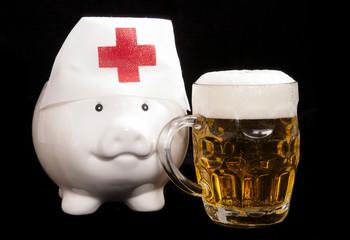 piggy bank nurse with beer