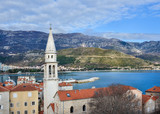 The view over the old town center of Budva, Montenegro, the chap poster