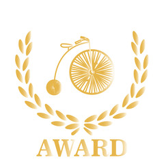 Gold Award cyclists over white color background