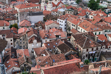 The view over red tiles roofs of the old center of Kotor, Monten