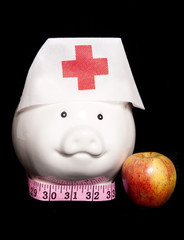 healthy eating diet piggy bank
