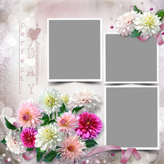 Frame with a bouquet of dahlias in the tender vintage background