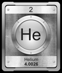 Helium symbol from periodic table on metallic icon