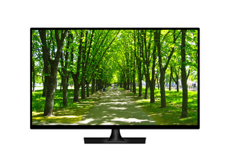 television set with image of beautiful park isolated