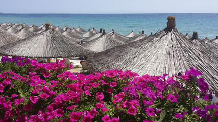 Reed sun umbrellas at the beach in Greece1