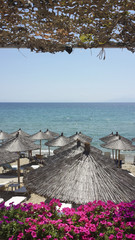 Reed sun umbrellas at the beach in Greece 2