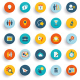Color modern icons on buttons. Flat design. poster