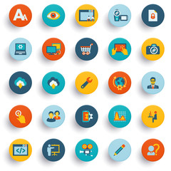 Color icons on buttons. Flat design.