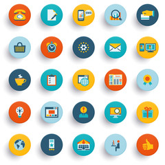 Color modern icons on buttons. Flat design.