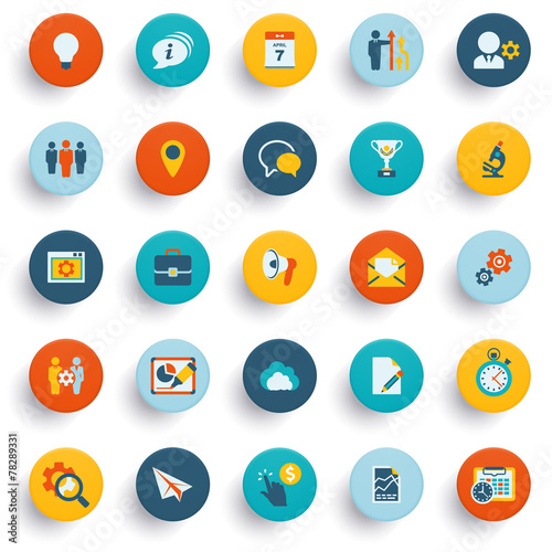Color modern icons on buttons. Flat design. - 78289331