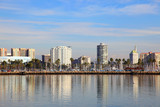 Long Beach skyline panorama from Queen Mary in California