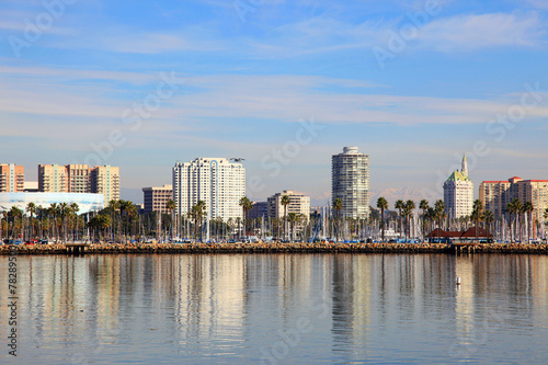 Poster Los Angeles Long Beach skyline panorama from Queen Mary in California