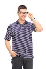 Joyful man with glasses posing