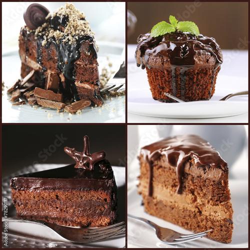 Fototapeta Collage of chocolate desserts