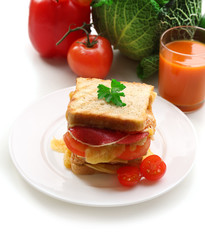 Big sandwich with cheese and vegetables
