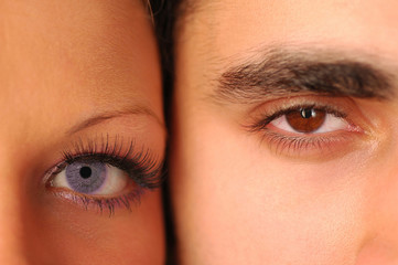 male and female eyes looking at the camera