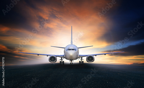 Leinwanddruck Bild air plane preparing to take off on airport runways use for air t