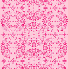 Seamless ornate background - pink