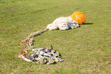 parachute for aiming lying on  ground