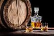 Leinwandbild Motiv Two glasses of aged whisky with ice