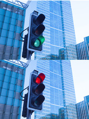Green, Yellow and Red Traffic Light in the London city..