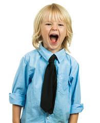 Angry well-dressed boy yelling isolated on white
