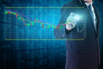Businessman analyze stock market charts and graphs