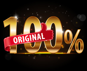 Golden 100 percent original with red thumbs up label