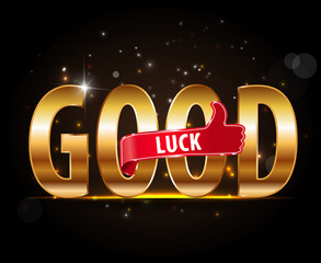 golden good luck sign with thumbs up - vector eps10