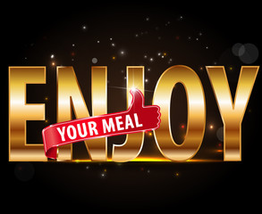 Enjoy food typography, graphics. Lettering with thumbs up