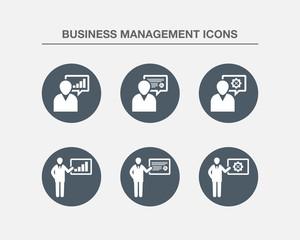 Business Management Icons 1 (BW Bubbles Version)