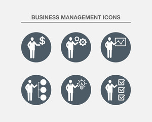 Business Management Icons 2 (BW Bubbles Version)