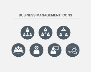 Business Management Icons 3 (BW Bubbles Version)