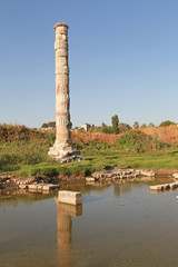 Ruins of temple of Artemis in Turkey in the district of Ephesus