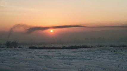 Sunset in winter- timelapse