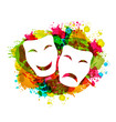 Comedy and tragedy simple masks for Carnival on colorful grunge - 78293916