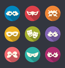 Set flat icons of Carnival or theatre masks with long shadows