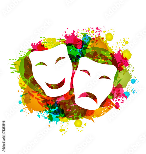 Deurstickers Carnaval Comedy and tragedy simple masks for Carnival on colorful grunge