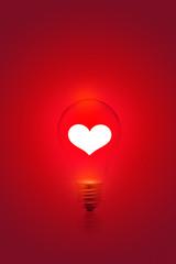 white heart shape on red light bulb background