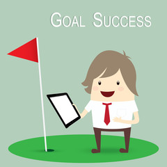 businessman is happy strategy marketing goal success, business c