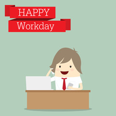 businessman is happy at the workday call center receive phone, b