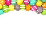 Colorful Easter egg top border against white - 78295316