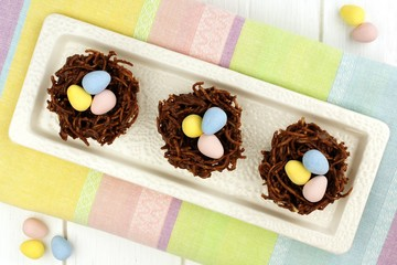 Springtime chocolate nests with Easter eggs