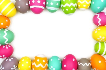 Colorful Easter egg frame against a white background
