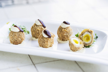 scotch breaded eggs  contemporary fusion style