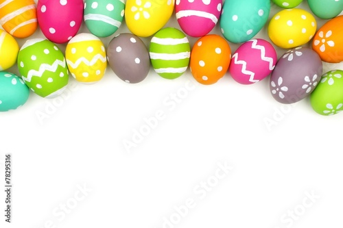 canvas print picture Colorful Easter egg top border against white