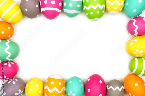 Colorful Easter egg frame against a white background - 78295322