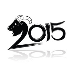 2015 merry christmas and happy new year, goat calligraphy wordin