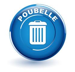 poubelle sur bouton bleu